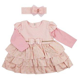 Vestido de Bebê Paraíso Moda Bebê Piquet Para Bebê com Faixa de Cabelo e  Pedrarias 9173243a533