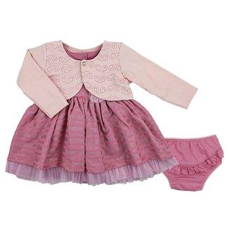 Vestido de Bebê Paraíso Moda Bebê com Bolero Bordado e Faixa de Cabelo 359e994af91