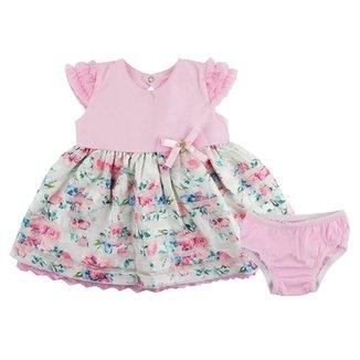 Vestido De Bebê Paraíso Moda Bebê Floral Com Calcinha 81456557745