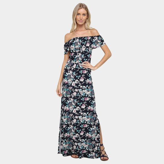 9384eefcf Vestido Art Fashion Ombro A Ombro Longo Com Fenda - Preto+Azul