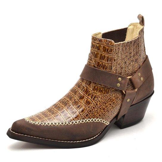 aa4fa0c5c Bota Top Franca Shoes Country Bico Fino Anaconda Masculina - Caramelo