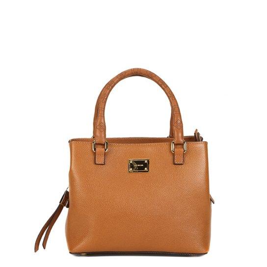ae176e2163 Bolsa Couro Luz da Lua Mini Bag Monograma Feminina - Caramelo