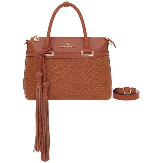 b8db526f3 Bolsa Smart Bag Couro Tressê Tribal - Caramelo