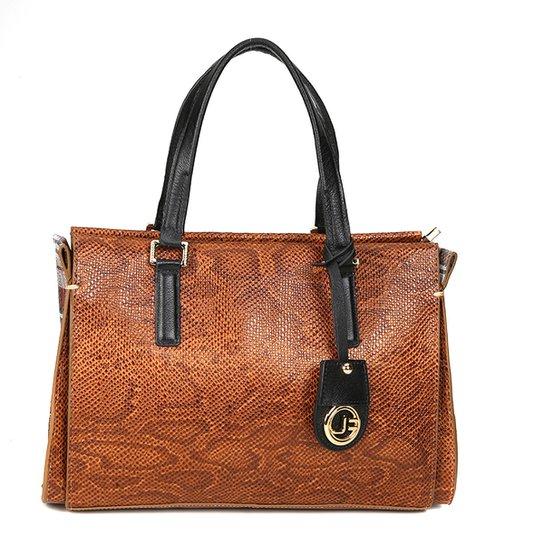 4b1a061c1 Bolsa Couro Jorge Bischoff Shopper Detalhe Lateral Snake Feminina - Caramelo