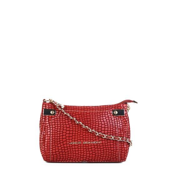 3ca14a382 Bolsa Couro Jorge Bischoff Mini Bag Croco Alça Corrente Feminina - Vermelho