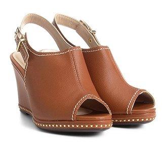1ea521442f7e Sandal Boot Azaleia Anabela Com Aplicações Metalizadas