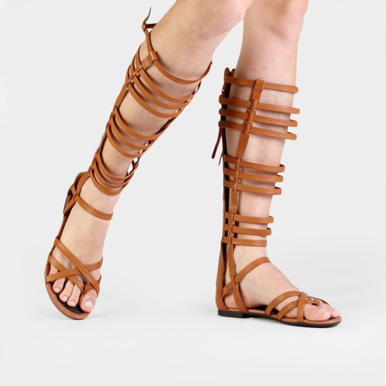 13a2334eb Rasteira Tanara Gladiadora Flat - Caramelo - Compre Agora | Zattini