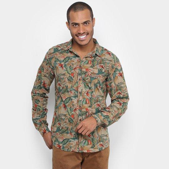 72973a809 Camisa Colcci Slim Fit Flores Masculina - Caramelo