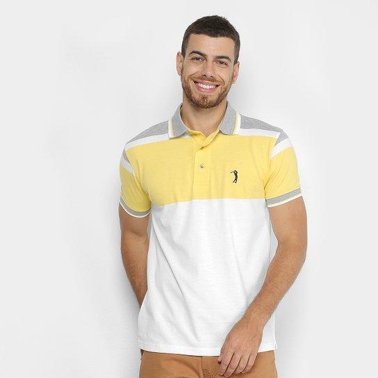 Camisa Polo Aleatory Listrada Masculina - Amarelo e Cinza - Compre ... cc380314226c1