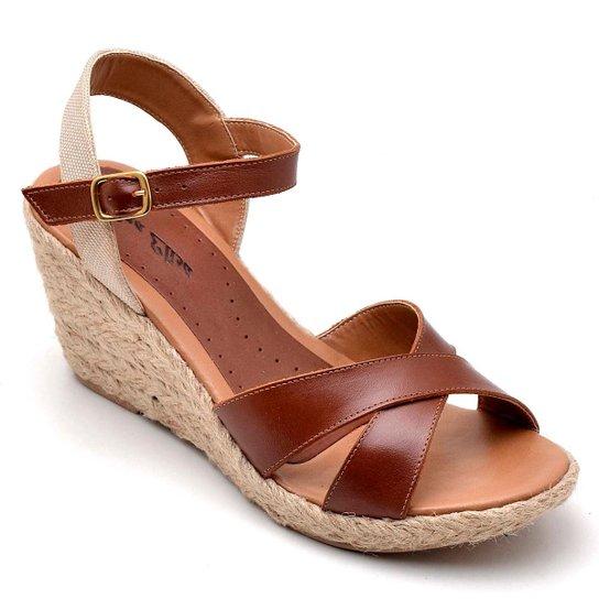 2c1f2dfaba Sandália Anabela Couro D R Shoes Feminina - Caramelo - Compre Agora ...