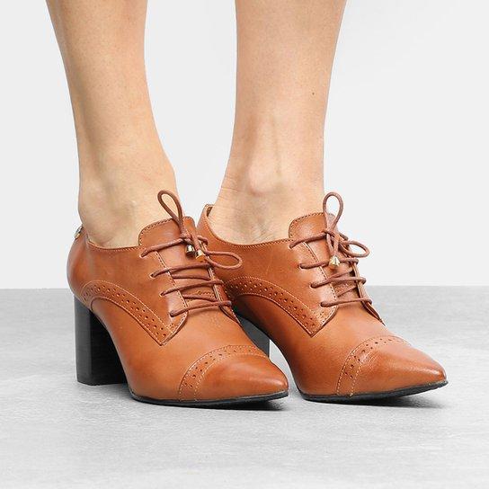 120b2727d5 Ankle Boot Couro Verofatto Salto Grosso Brogues - Caramelo