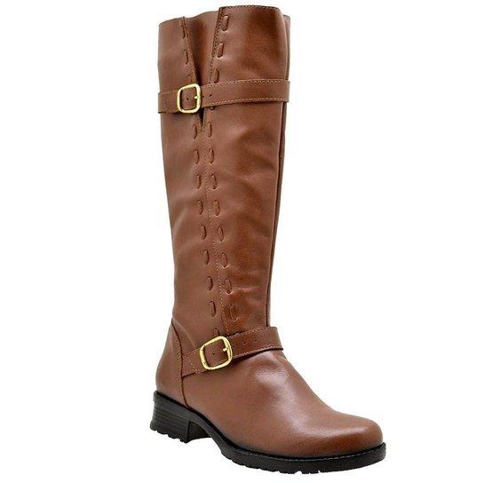 d5f64176f0 Bota Montaria Feminina Cano Alto Couro Atron Shoes - Caramelo | Zattini