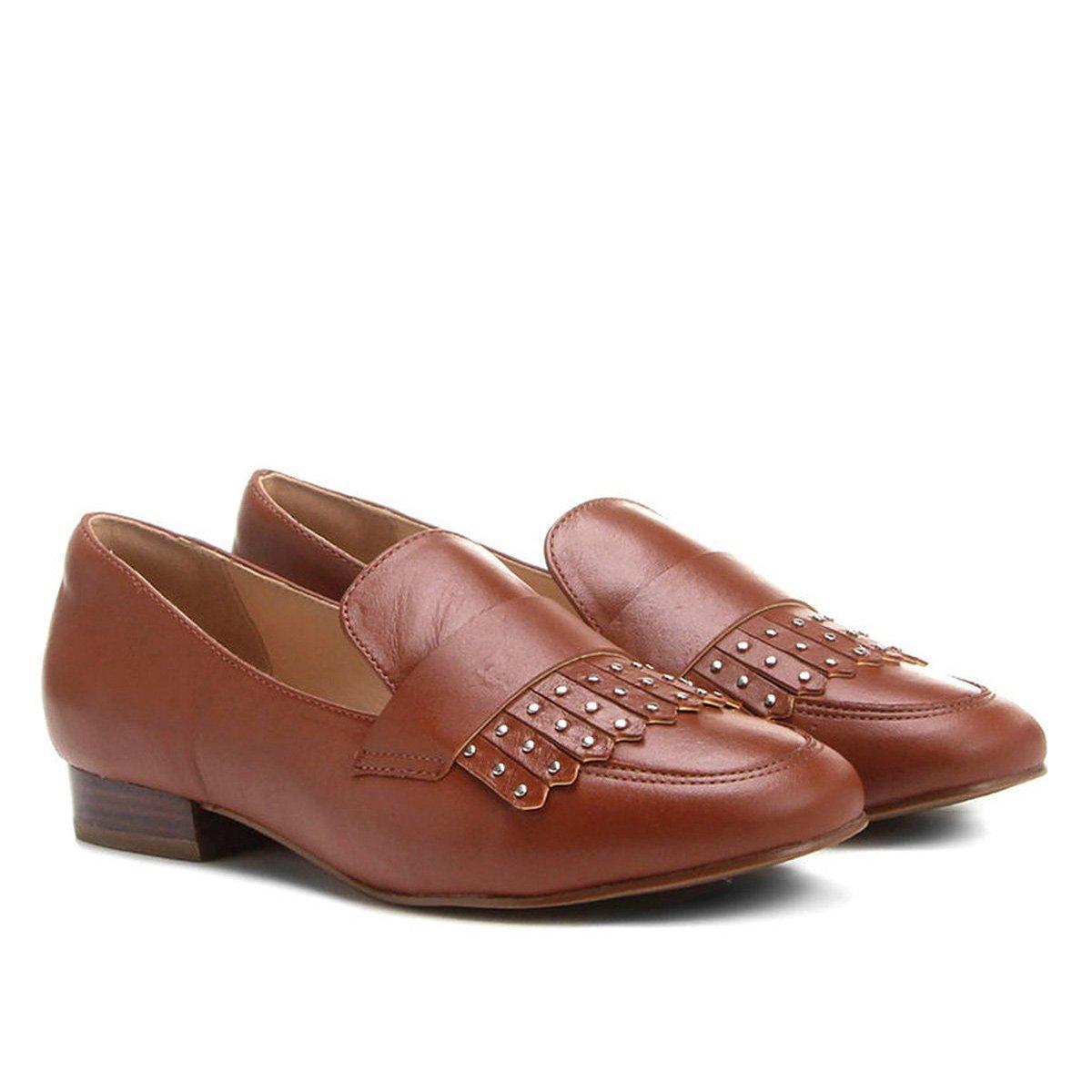 14ff5dd8bf Mocassim Couro Shoestock Franja Apliques Feminina