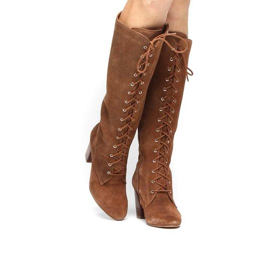 0775ed1bc1 Bota Couro Cano Alto Shoestock Amarração - Caramelo - Compre Agora ...