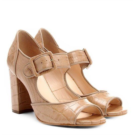 b43aa38add Sandália Couro Shoestock Salto Grosso Mary Jane Feminina - Bege ...