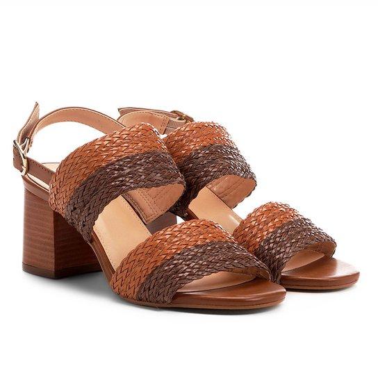 aaff1d1fe2 Sandália Shoestock Salto Grosso Mix Tressê Feminina - Caramelo ...