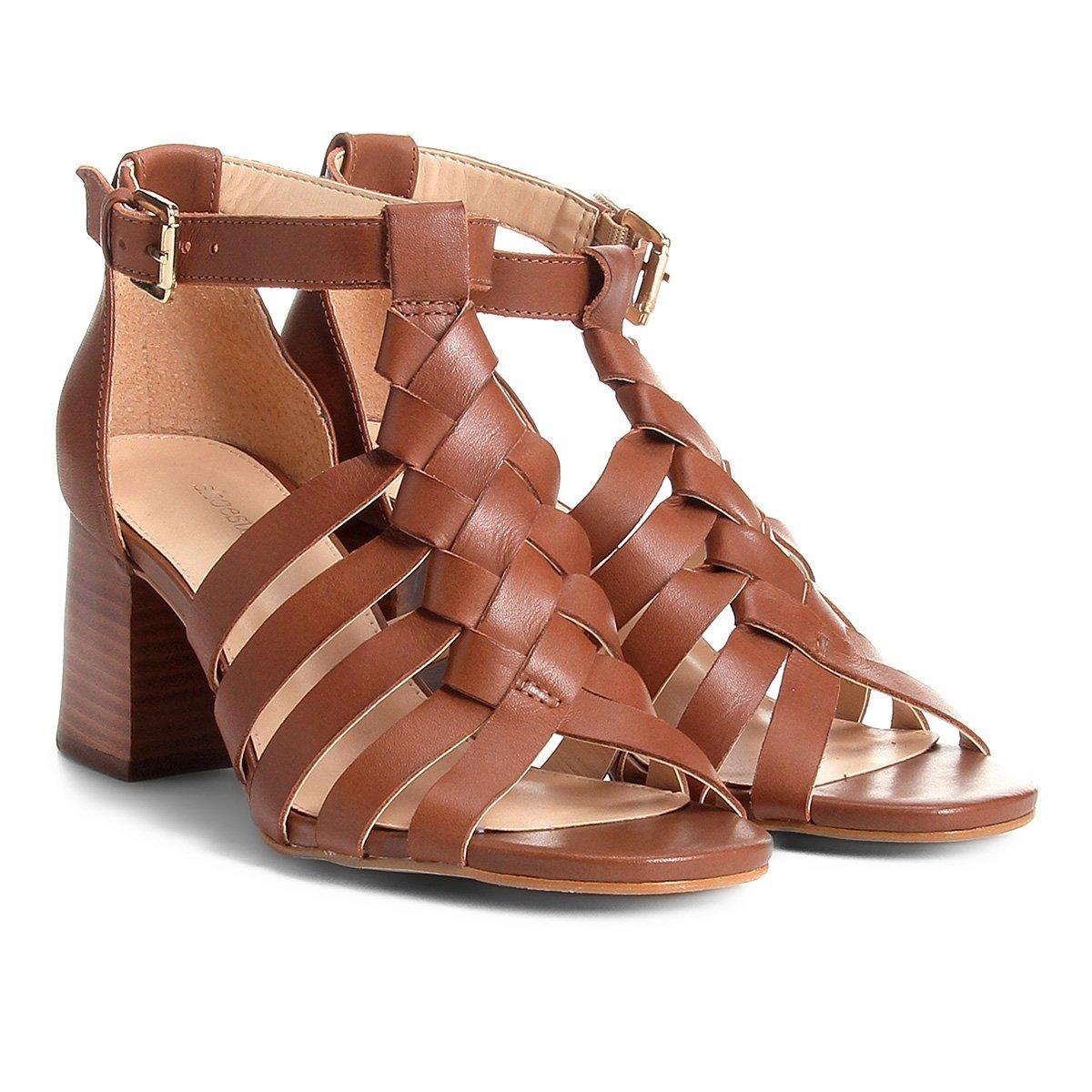 0c7656b49 Sandália Couro Shoestock Salto Grosso Trança Feminina