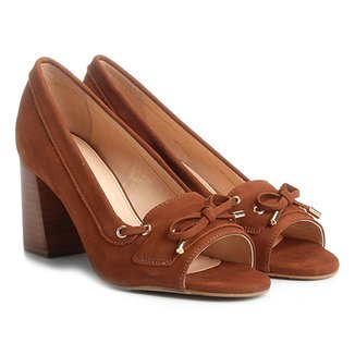 62d1eb19c Peep Toe Couro Shoestock Salto Grosso