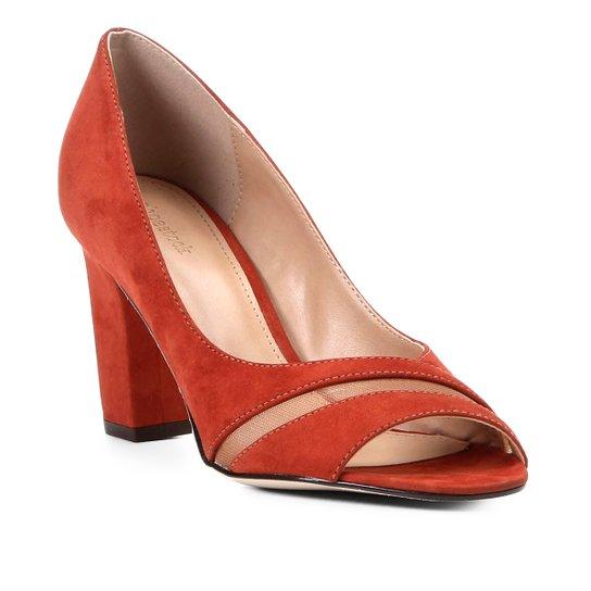 caffcd66c Peep Toe Shoestock Salto Grosso Tela - Caramelo | Zattini