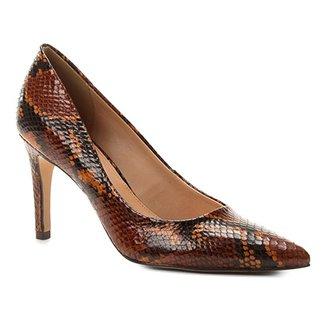 3b878321ae Scarpin Couro Shoestock Snake Salto Alto Bico Fino
