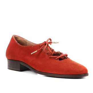 b7aef9f952 Oxford Couro Shoestock Nobuck Lace Up Feminino