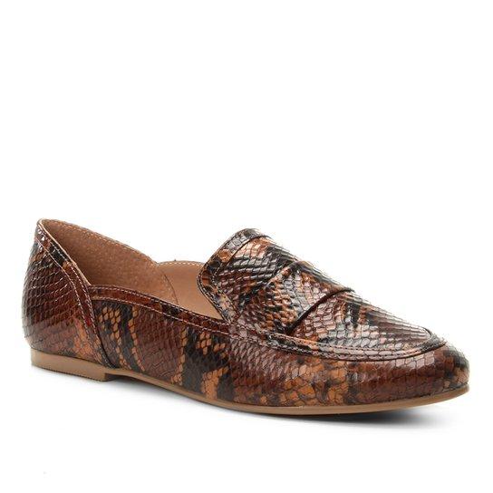 fb851f842b Mocassim Couro Shoestock Loafer Snake Feminino - Caramelo - Compre ...