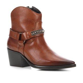 2dd11a93e Bota Cano Curto Couro Shoestock Texas Feminina