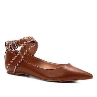 16e4c3907c Sapatilha Couro Shoestock Bico Fino Nomade Crafts Feminina