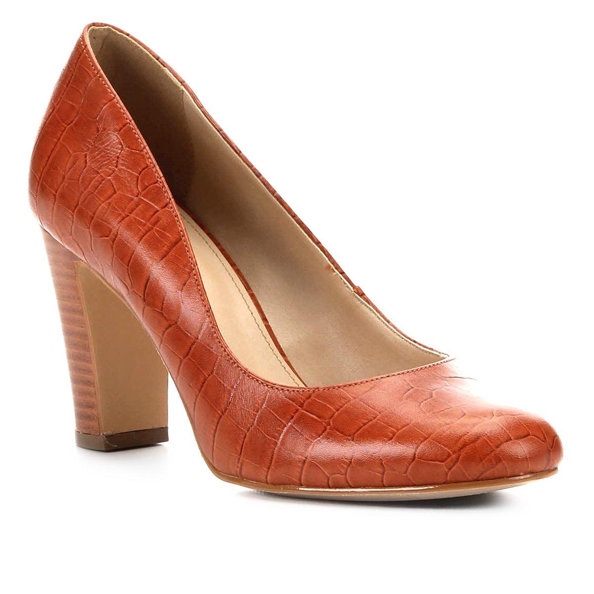 Scarpin Couro Shoestock Croco Salto Alto