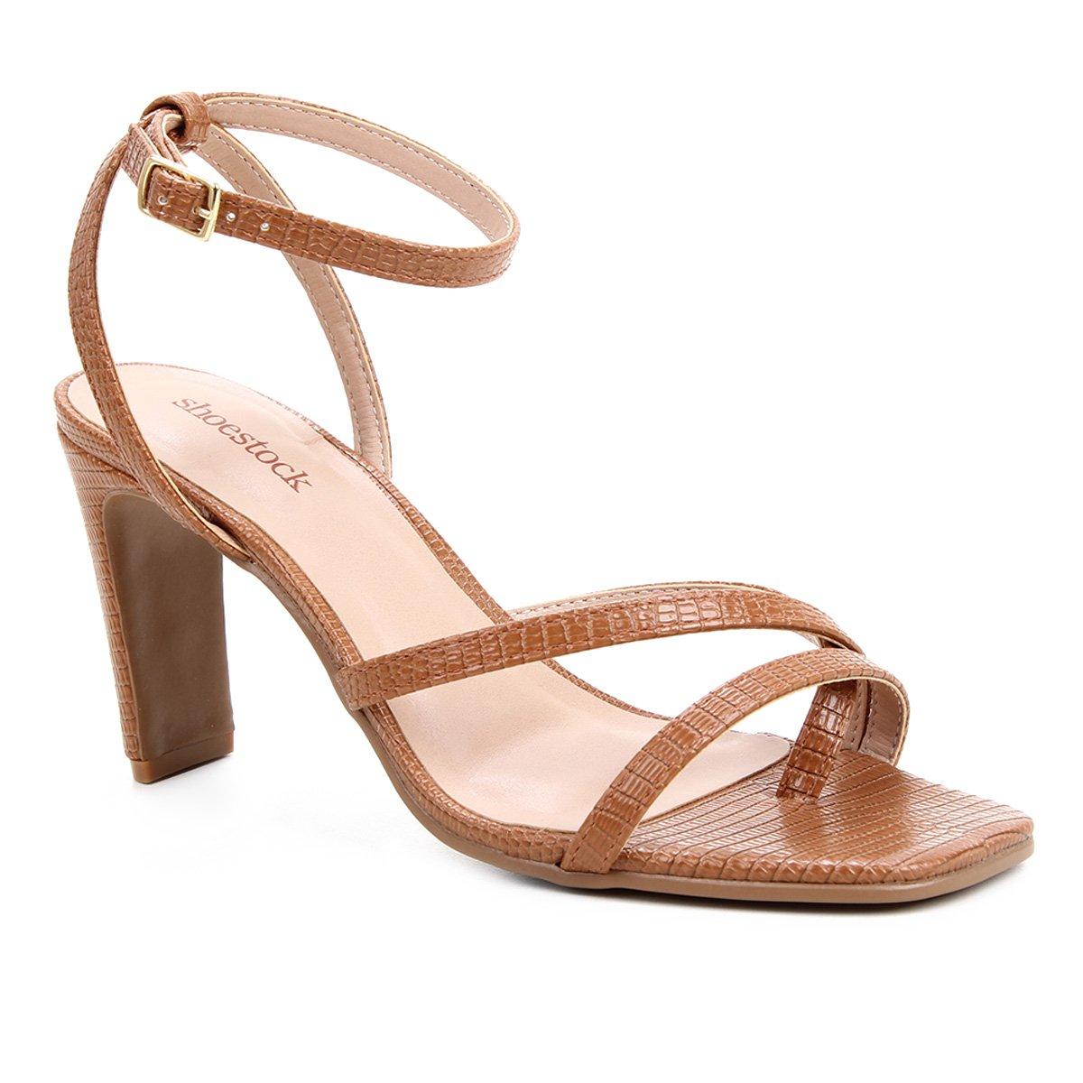 Sandália Shoestock Bico Quadrado Salto Alto Feminina