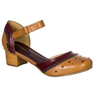 19f1114e32 Sapato Feminino Boneca Retro Malbork em Couro