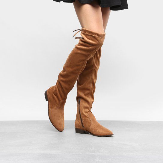 4fb9a5d0b Bota Over The Knee Drezzup Amarração Feminina - Caramelo | Zattini