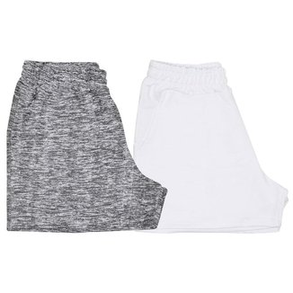 2 Shorts Curto Moletom Feminino Confortável Mescla Claro e Branco
