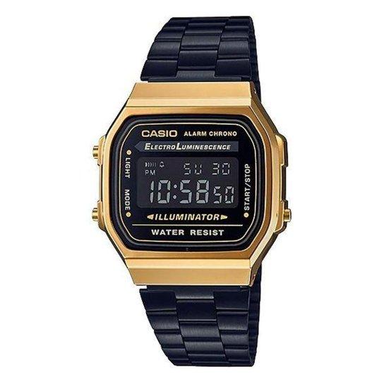 fdf4c7c8228 Relógio Casio Vintage A168WEGB-1BDF Digital - Preto e Dourado ...