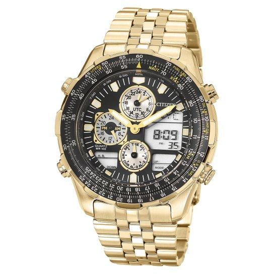 a21de0090 Relógio Citizen Analógico e Digital TZ10173U Masculino - Preto+Dourado