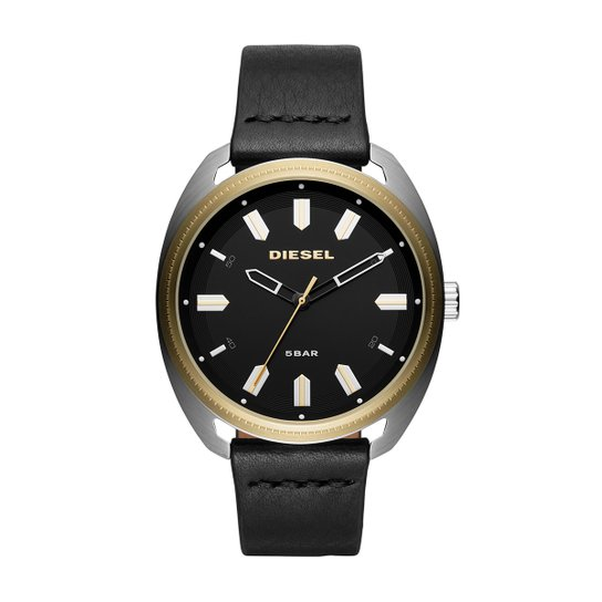 249e4cbd73f Relógio Diesel Analógico Aço Couro Masculino - Preto e Dourado ...