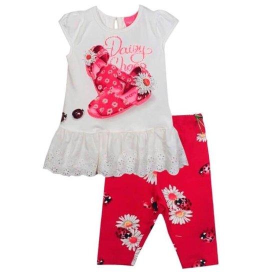 c6cf62a4ba Conjunto Infantil Momi Joaninha Shoes Feminino - Branco e Rosa ...