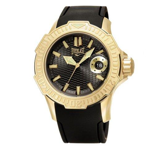 e4a82b9834d Relógio Pulso Everlast Com Pulseira Em Silicone E576 - Preto+Dourado