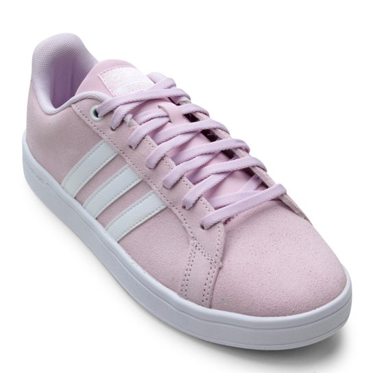 ba69f13ebf1 Tênis Adidas Cloudfoam Advantage Feminino - Branco e Rosa - Compre ...