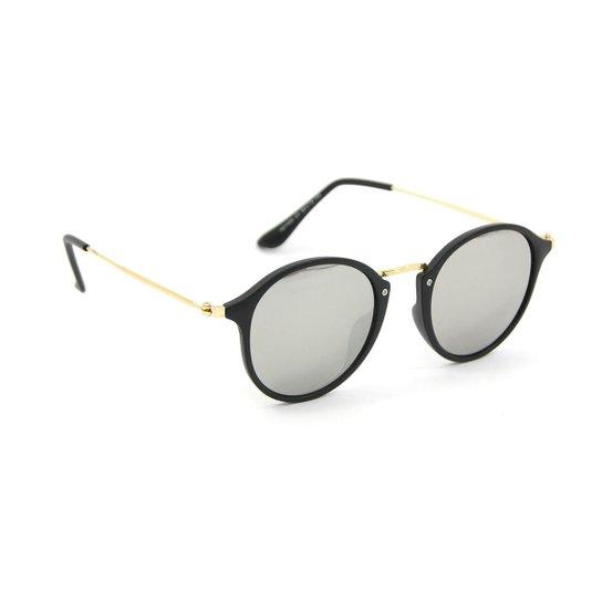 bc83c2053bfca Óculos Redondo Preto Lente Espelhada - Compre Agora