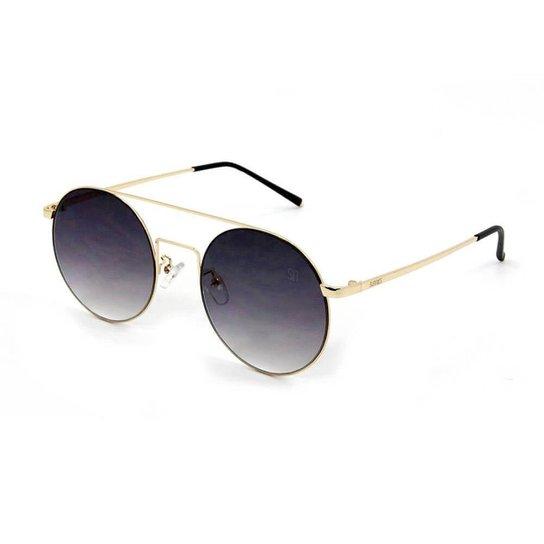 5d3dfa6f65cbc Óculos de Sol Redondo - Preto e Dourado - Compre Agora   Zattini