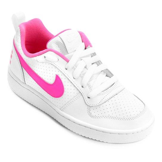 e57e175abb0 Tênis Infantil Nike Court Borough Low Feminino - Branco e Rosa ...
