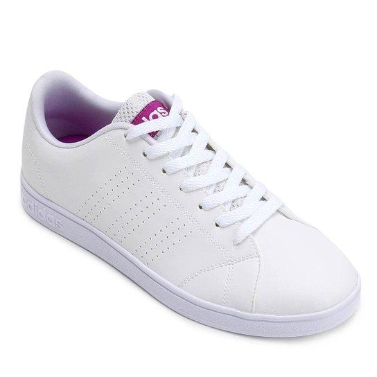 efa60a6fb Tênis Adidas Vs Advantage Clean Feminino - Branco e Rosa - Compre ...