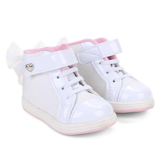 e1154a26b Tênis Infantil Cano Alto Klin Mini Gloss Street Feminino - Branco+Rosa