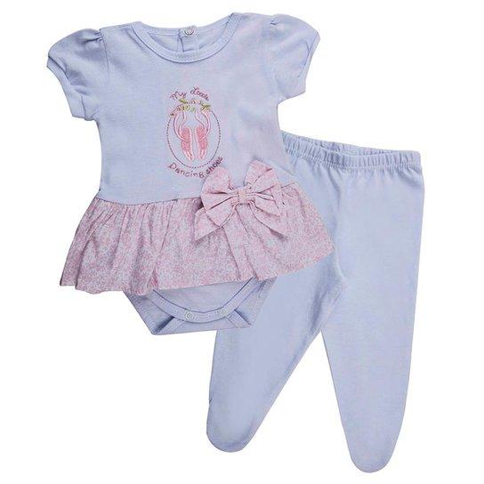45cf9408a Conjunto Klin Bebê Manga Curta Laço Feminino - Branco e Rosa ...