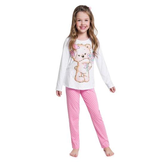 ca734260b1e92e Pijama Infantil Kyly Longo Meia Malha Urso Brilha no Escuro Feminino -  Branco e Rosa