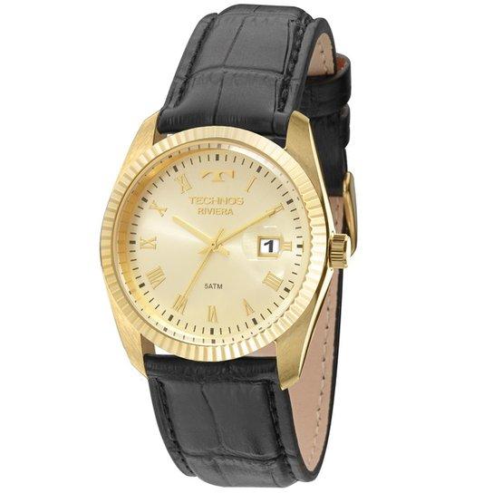 c6c950a99e32f Relógio Technos Riviera Masculino Analógico - 2115KQR 2X 2115KQR 2X - Preto+ Dourado