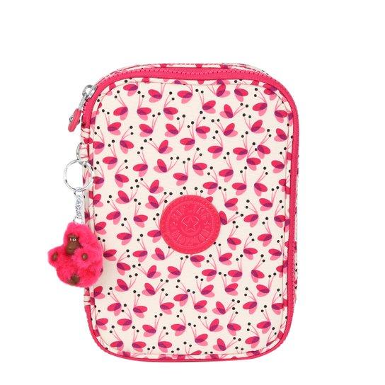 c016cea4f Estojo Kipling 100 Pens Estampado Feminino - Branco+Rosa