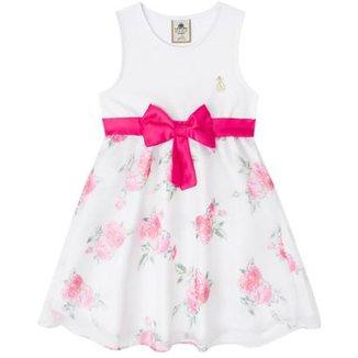 Vestido Infantil Boca Grande Feminino Floral 9ffe4825c5168