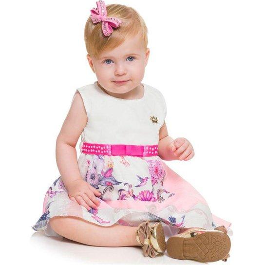 d1ede625d4998 Vestido Infantil Bebê Fada Boca Grande - Branco e Rosa - Compre ...